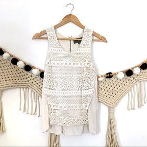 ANTHRO Sunday in Brooklyn Lace Linen Crochet Tank